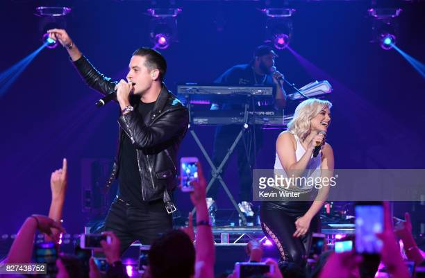 Rapper GEazy and Bebe Rexha perform onstage during iHeartRadio LIVE with Bebe Rexha presented by Forever 21 at iHeartRadio Theater on August 7 2017...
