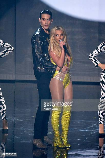 Rapper GEazy and Britney Spears perform onstage during the 2016 MTV Video Music Awards at Madison Square Garden on August 28 2016 in New York City