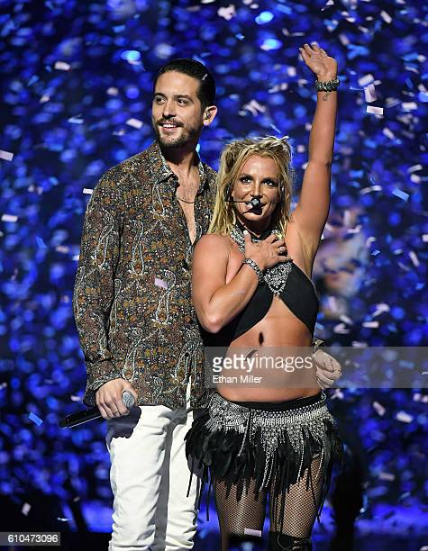 Rapper GEazy and singer Britney Spears perform at the 2016 iHeartRadio Music Festival at TMobile Arena on September 24 2016 in Las Vegas Nevada