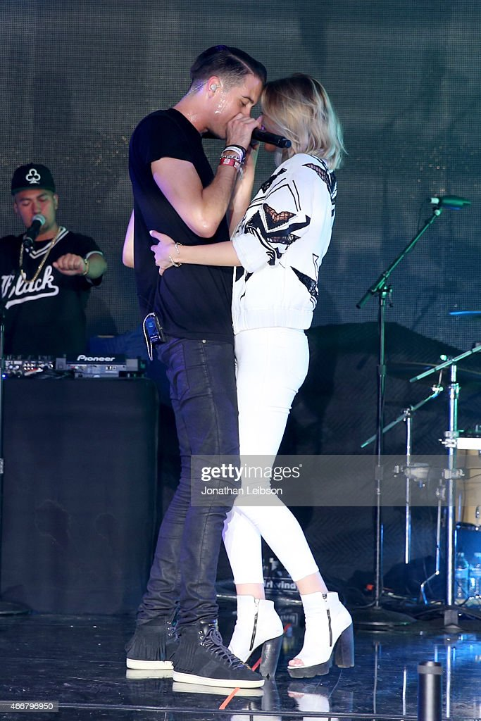 Rapper GEazy and singer Devon Baldwin perform onstage at the Samsung Milk Music Lounge featuring Iggy Azalea on March 18 2015 in Austin Texas