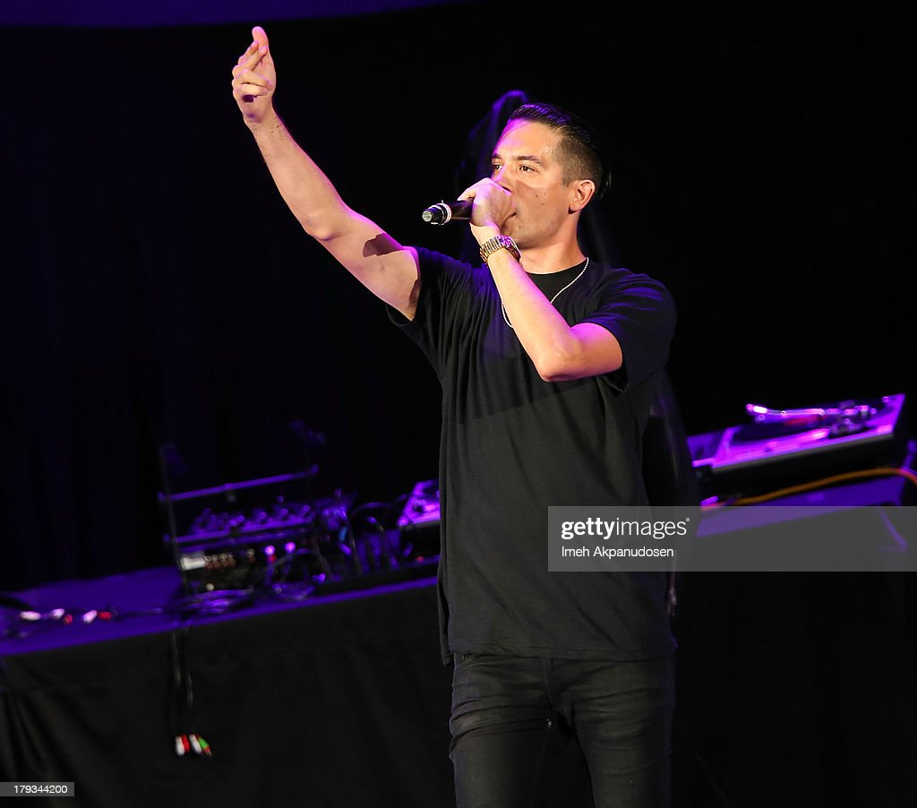 Rapper G-Eazy performs during the 2013 America's Most Wanted Musical Festival at Verizon Wireless Amphitheatre on September 1, 2013 in Laguna Hills, California.