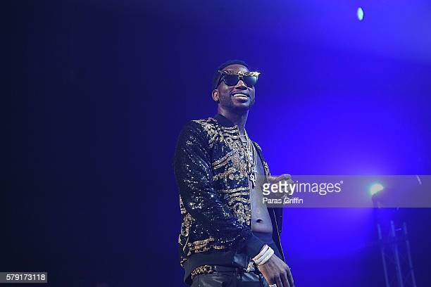Rapper Gucci Mane performs on stage at Gucci and Friends Homecoming Concert at Fox Theatre on July 22 2016 in Atlanta Georgia