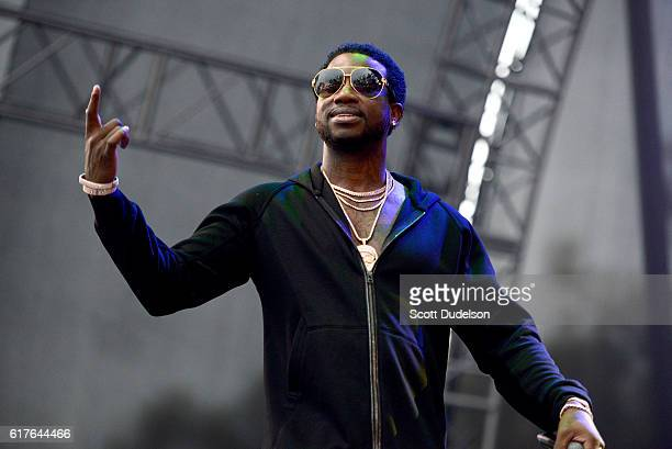Rapper Gucci Mane performs onstage during the Beach Goth Festival at The Observatory on October 23 2016 in Santa Ana California