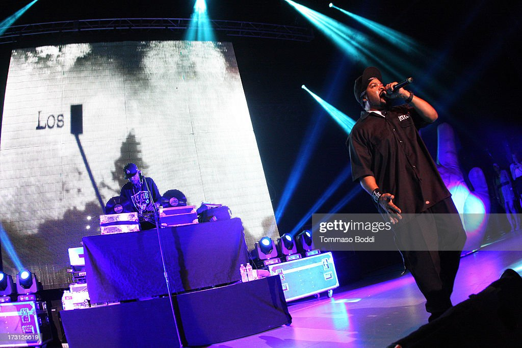 Rapper Ice Cube performs at the Kings Of The Mic Tour held at The Greek Theatre on July 7, 2013 in Los Angeles, California.
