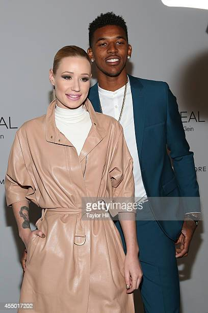 Rapper Iggy Azalea and Los Angeles Lakers small forward Nick Young attend the REVEAL Calvin Klein Fragrance Launch Party at 4 World Trade Center on...