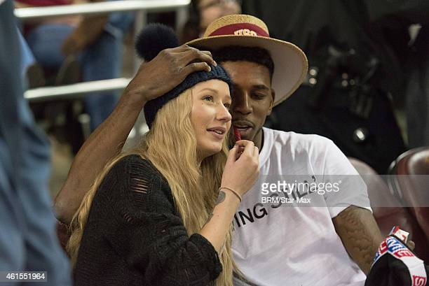Rapper Iggy Azalea and Nick Young are seen on January 14 2015 at the USC UCLA Men's Basketball Game at The Galen Center in Los Angeles California