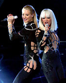 Rapper Iggy Azalea and singer Rita Ora perform onstage during the 2014 MTV Video Music Awards at The Forum on August 24 2014 in Inglewood California