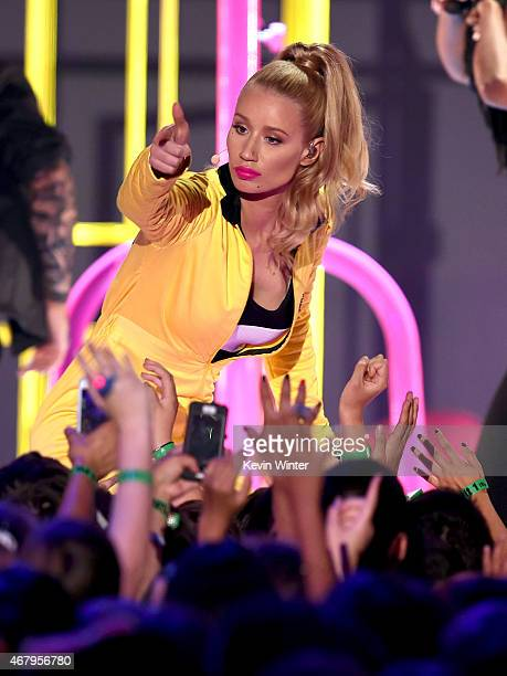 Rapper Iggy Azalea performs onstage during Nickelodeon's 28th Annual Kids' Choice Awards held at The Forum on March 28 2015 in Inglewood California