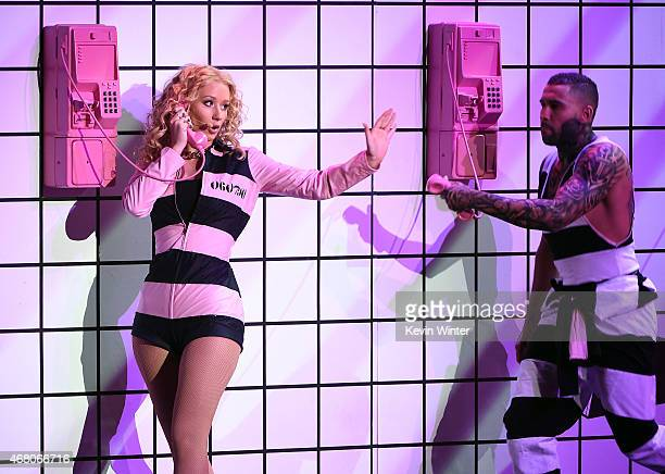 Rapper Iggy Azalea performs onstage during the 2015 iHeartRadio Music Awards which broadcasted live on NBC from The Shrine Auditorium on March 29...