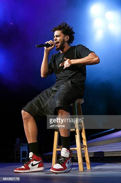 Rapper J Cole performs at PNC Music Pavilion on August 12 2015 in Charlotte North Carolina