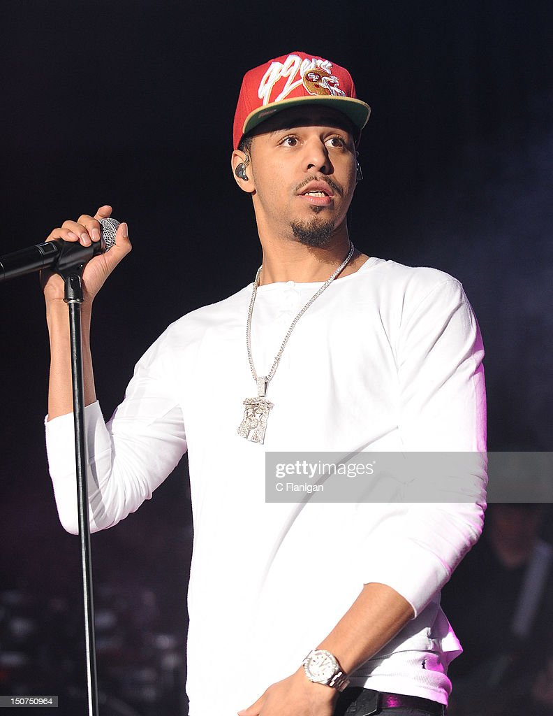 Rapper J Cole performs during the 2012 Boost Mobile & Guerilla Union Rock the Bells Music Festival powered by Blackberry at Shoreline Amphitheatre on August 25, 2012 in Mountain View, California.