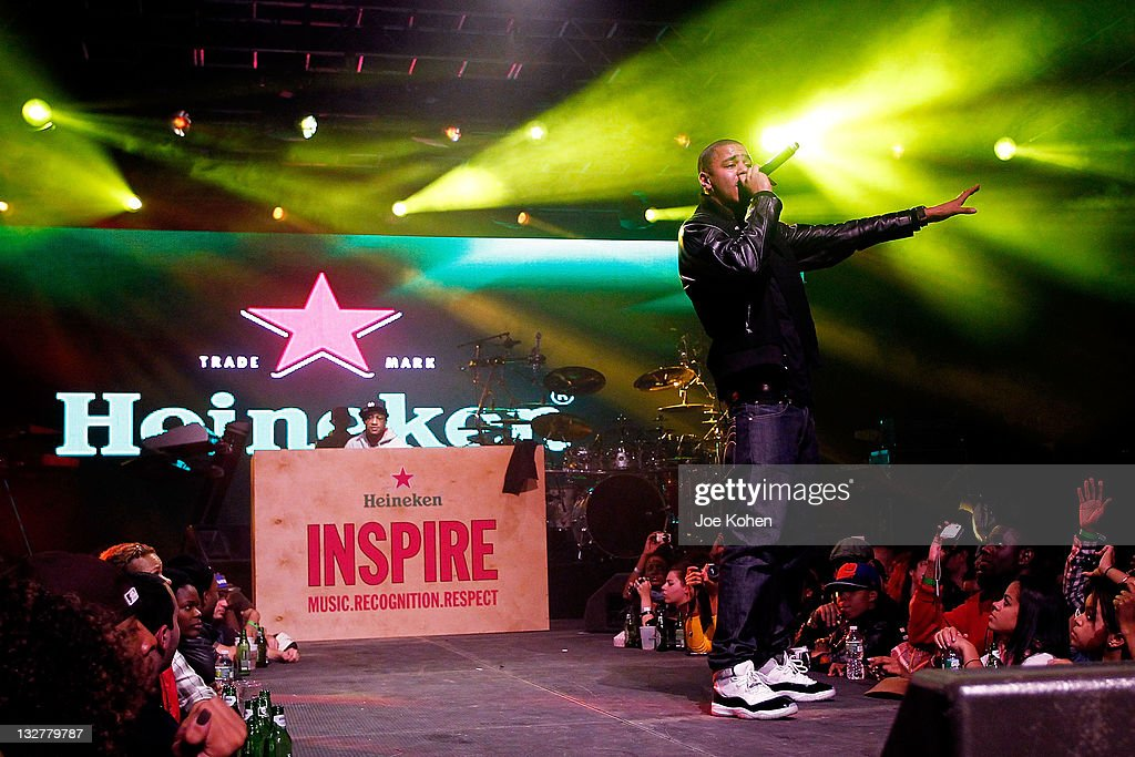 Rapper J. Cole performs live at the Heineken Inspire Encore Event featuring <a gi-track='captionPersonalityLinkClicked' href=/galleries/search?phrase=Nas&family=editorial&specificpeople=204627 ng-click='$event.stopPropagation()'>Nas</a>, Cee Lo Green, Diplo, Pete Rock, J. Cole and Roxy Cottontail at Basketball City - Pier 36 - South Street on November 13, 2010 in New York City.