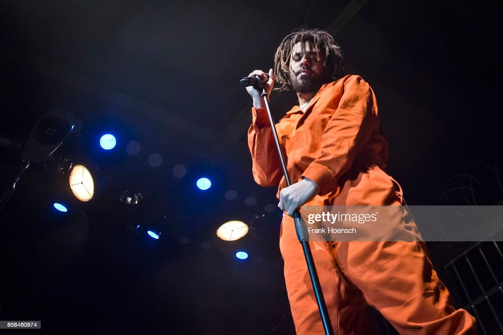 Rapper J. Cole performs live on stage during a concert at the Columbiahalle on October 6, 2017 in Berlin, Germany.