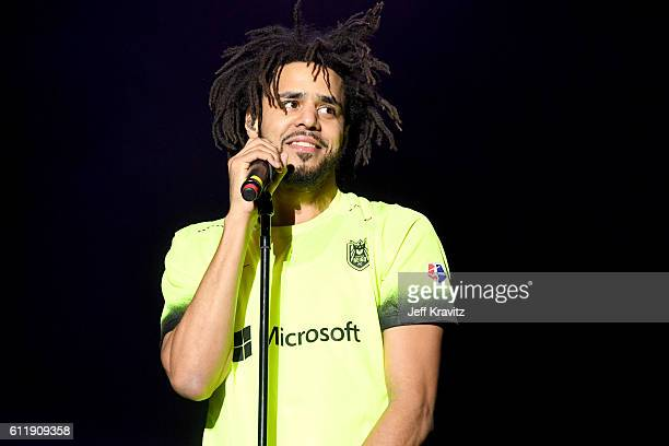 Rapper J Cole performs onstage during The Meadows Music Arts Festival Day 1 on October 1 2016 in Queens New York