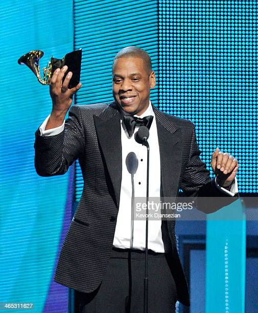 Rapper Jay Z accepts the Best Rap/Sung Collaboration award for 'Holy Grail' onstage during the 56th GRAMMY Awards at Staples Center on January 26...