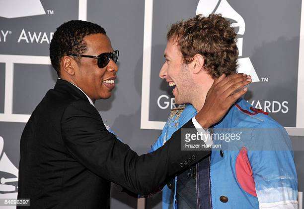 Rapper Jay Z and musician Chris Martin arrive at the 51st Annual Grammy Awards held at the Staples Center on February 8 2009 in Los Angeles California