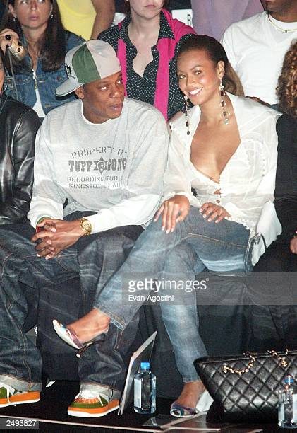 Rapper Jay Z and singer Beyonce Knowles attend the Rosa Cha by Amir Slama Spring/Summer 2004 Collection at Bryant Park during the 7th on Sixth...