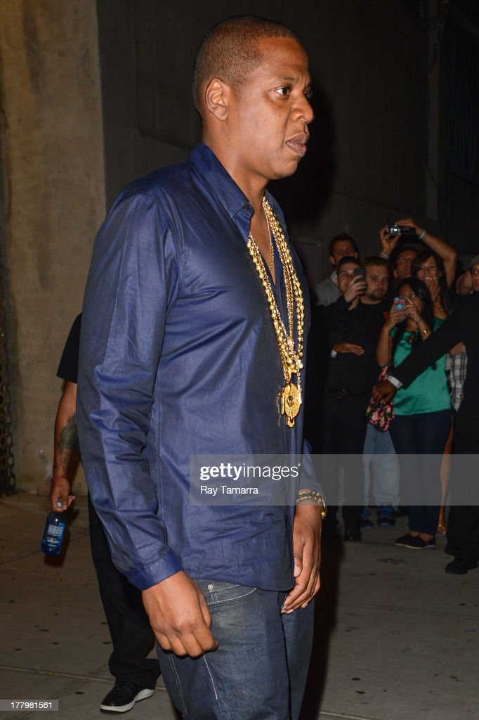 Rapper Jay Z leaves the Dream Downtown hotel on August 25, 2013 in New York City.