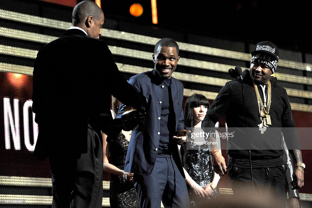 Rapper Jay Z, musicians Frank Ocean and The Dream onstage during the 55th Annual GRAMMY Awards at STAPLES Center on February 10, 2013 in Los Angeles, California.