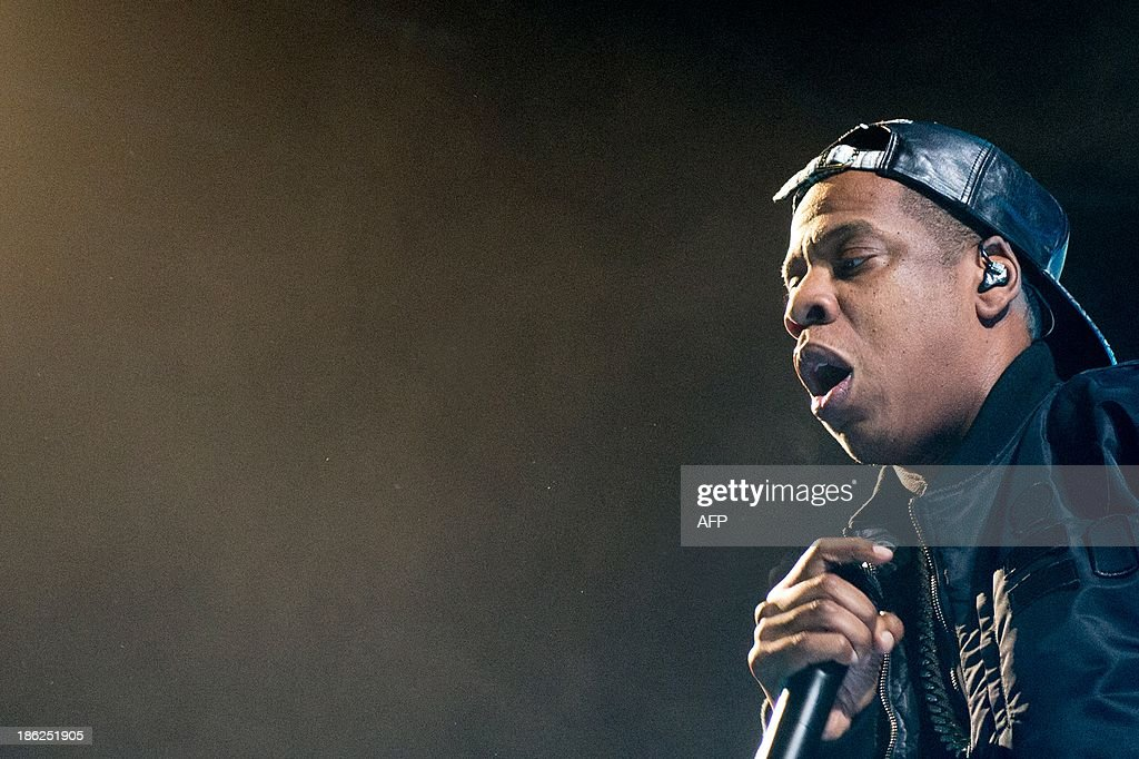 US rapper Jay Z performs on stage, during his Magna Carter Tour, at the Ziggo Dome in Amsterdan, on October 29, 2013.