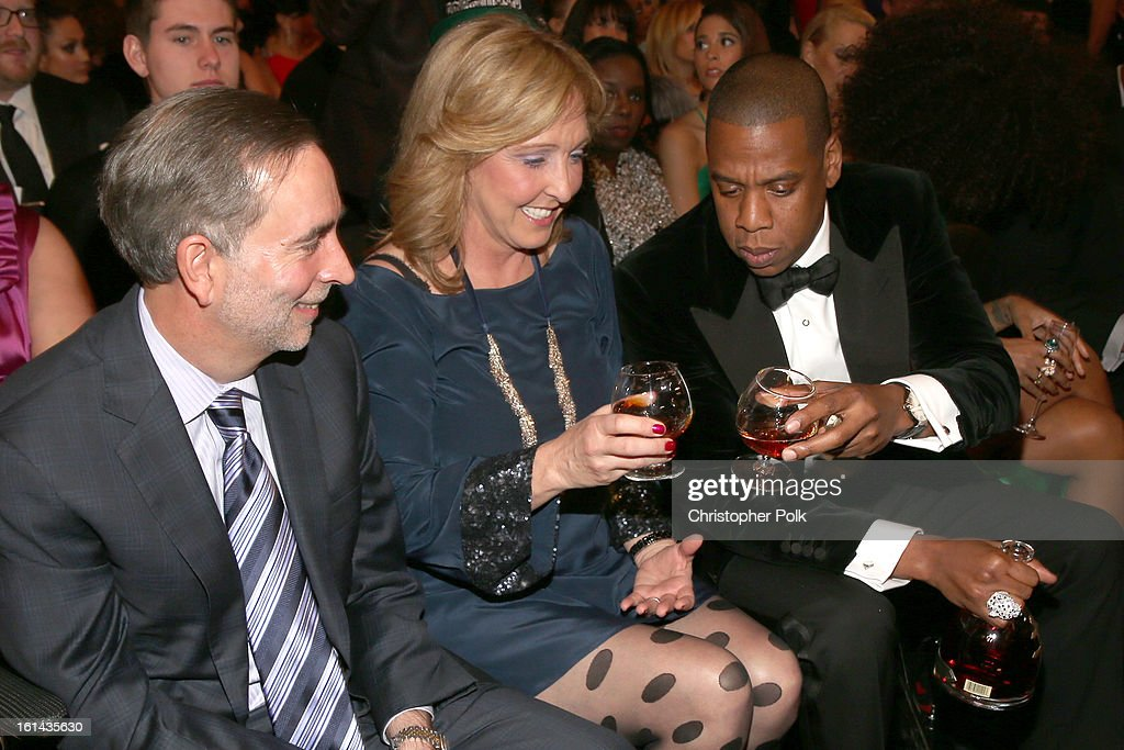Rapper Jay-Z and guests attend the 55th Annual GRAMMY Awards at STAPLES Center on February 10, 2013 in Los Angeles, California.