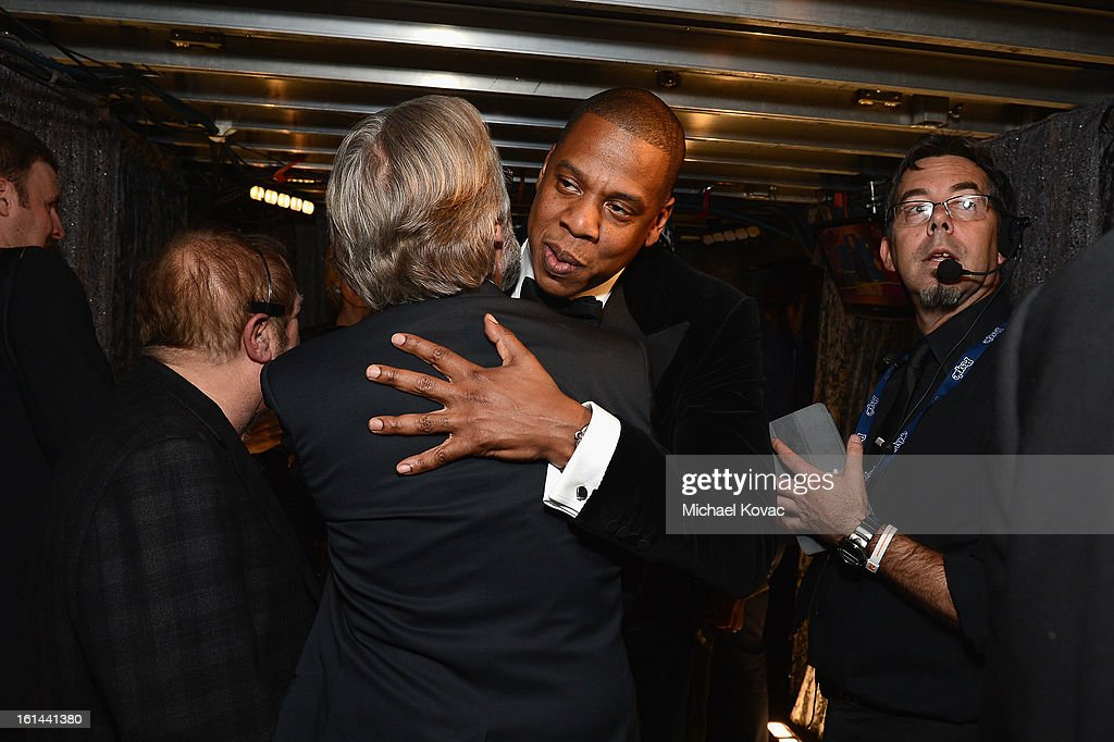 Rapper Jay-Z (R) and president/CEO of The Recording Academy Neil Portnow attend the 55th Annual GRAMMY Awards at STAPLES Center on February 10, 2013 in Los Angeles, California.