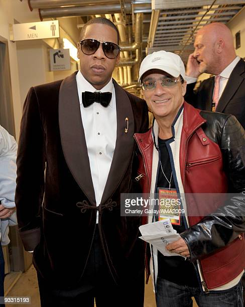 Rapper JayZ and producer Jimmy Iovine backstage at the 2009 American Music Awards at Nokia Theatre LA Live on November 22 2009 in Los Angeles...