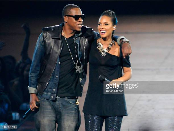 Rapper JayZ and singer Alicia Keys perform onstage during the 2009 MTV Video Music Awards at Radio City Music Hall on September 13 2009 in New York...