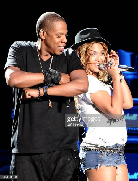 Rapper JayZ and singer Beyonce Knowles perform during day 1 of the Coachella Valley Music Arts Festival 2010 held at The Empire Polo Club on April 16...