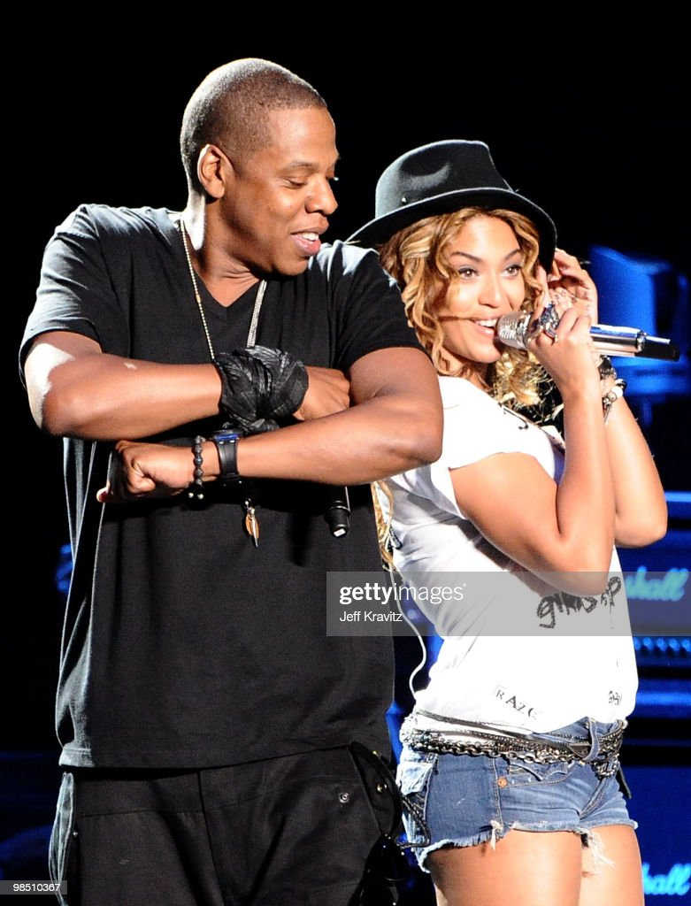 Rapper <a gi-track='captionPersonalityLinkClicked' href=/galleries/search?phrase=Jay-Z&family=editorial&specificpeople=201664 ng-click='$event.stopPropagation()'>Jay-Z</a> and singer <a gi-track='captionPersonalityLinkClicked' href=/galleries/search?phrase=Beyonce+Knowles&family=editorial&specificpeople=171204 ng-click='$event.stopPropagation()'>Beyonce Knowles</a> perform during day 1 of the Coachella Valley Music & Arts Festival 2010 held at The Empire Polo Club on April 16, 2010 in Indio, California.