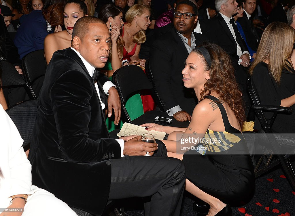 Rapper Jay-Z (L) attends the 55th Annual GRAMMY Awards at STAPLES Center on February 10, 2013 in Los Angeles, California.