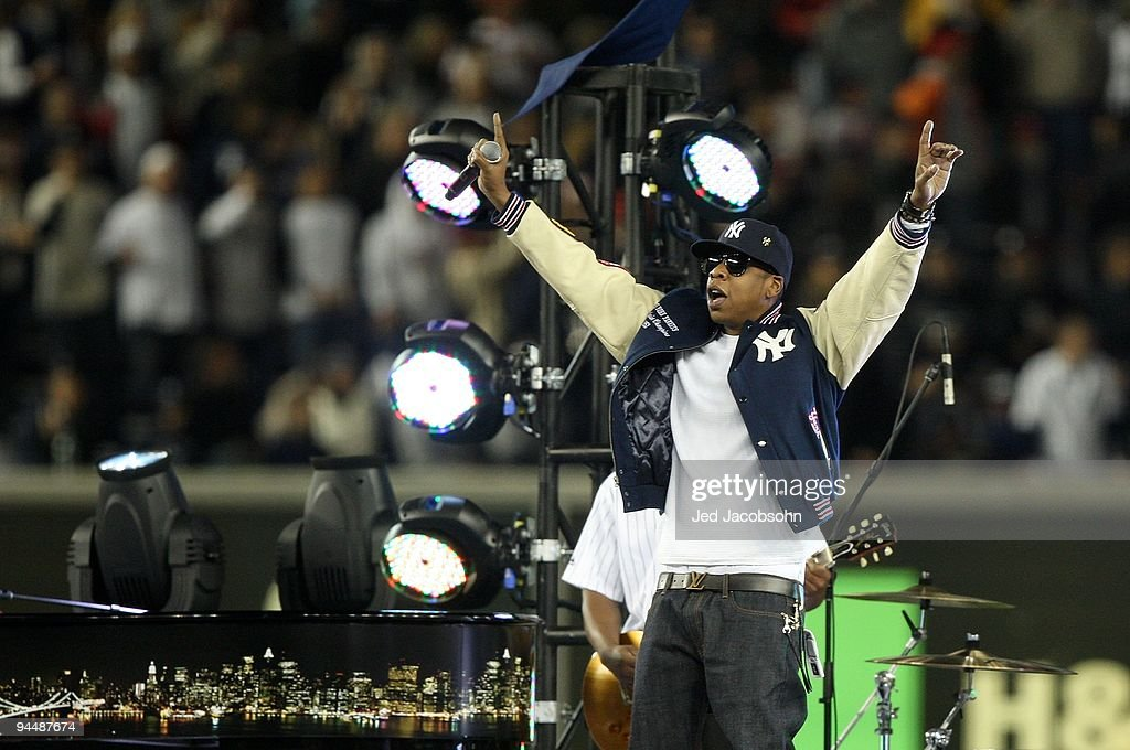 Rapper Jay-Z performs before Game Two of the 2009 MLB World Series at Yankee Stadium on October 29, 2009 in the Bronx borough of New York City.