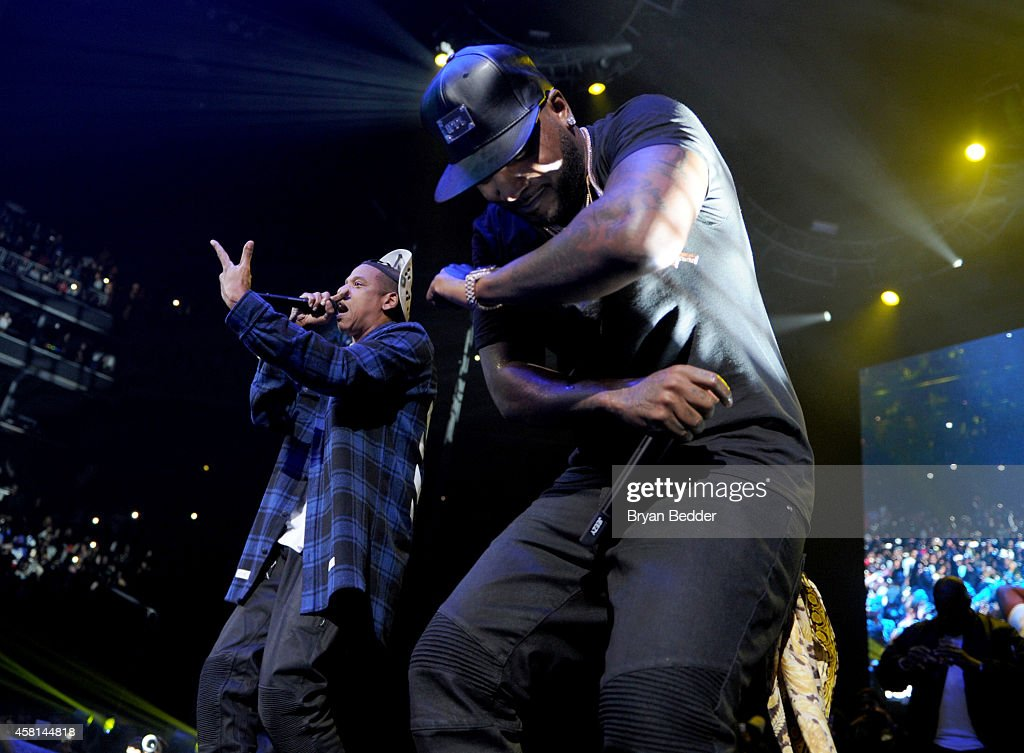 Rapper JayZ performs on stage with Young Jeezy at Power 1051's Powerhouse 2014 at Barclays Center of Brooklyn on October 30 2014 in New York City