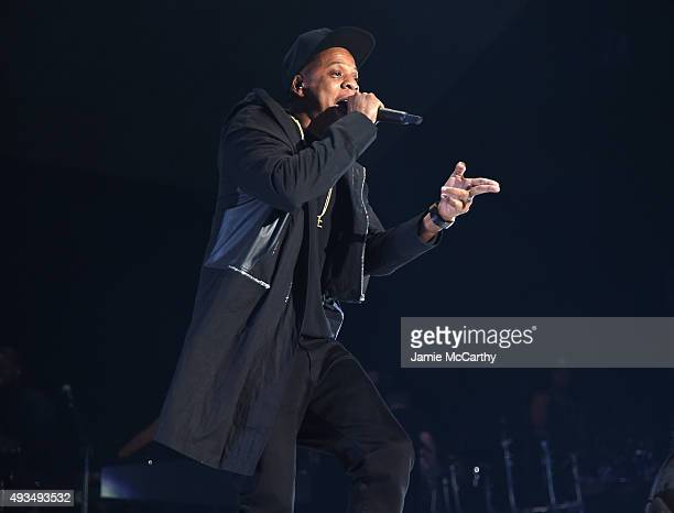 Rapper JayZ performs onstage during TIDAL X 1020 Amplified by HTC at Barclays Center of Brooklyn on October 20 2015 in New York City