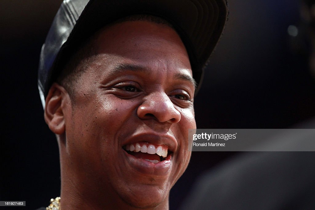 Rapper Jay-Z smiles before the 2013 NBA All-Star game at the Toyota Center on February 17, 2013 in Houston, Texas.