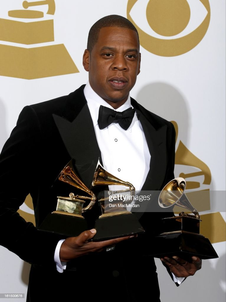 Rapper Jay-Z, winners of Best Rap/Sung Collaboration and Best Rap Performance, poses in the press room at the 55th Annual Grammy Awards at the Staples Center on February 10, 2013 in Los Angeles, California.