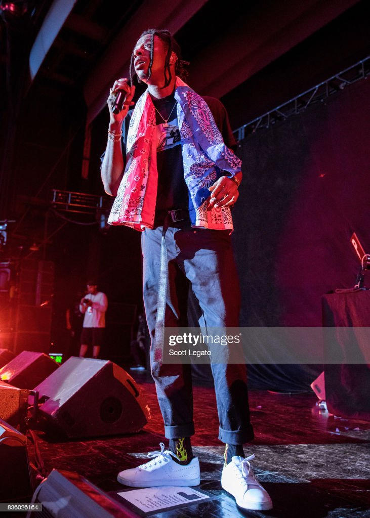 Rapper Joey Bada$$ performs in support of the Everybody's Tour at Meadow Brook Music Festival on August 20, 2017 in Rochester, Michigan.
