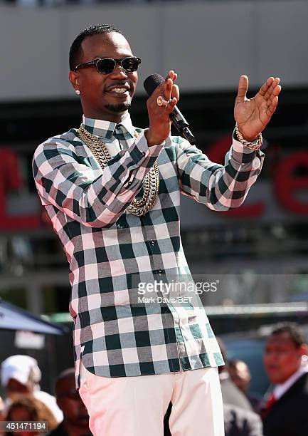 Rapper Juicy J attends the BET Awards PreShow during the 2014 BET Experience At LA LIVE on June 29 2014 in Los Angeles California