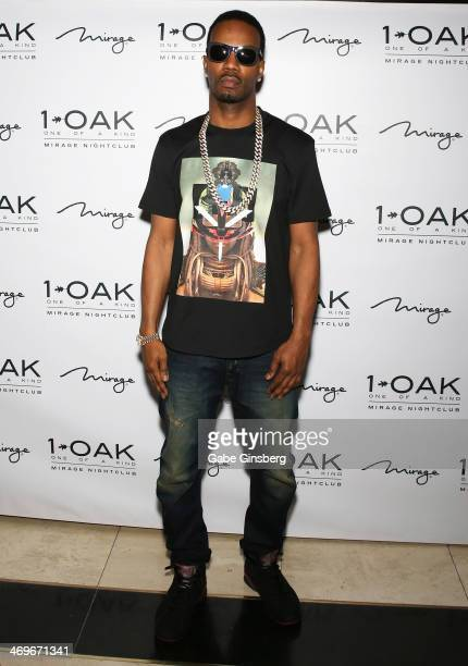 Rapper Juicy J of the group Three 6 Mafia arrives at 1 OAK Nightclub at The Mirage Hotel Casino on February 15 2014 in Las Vegas Nevada