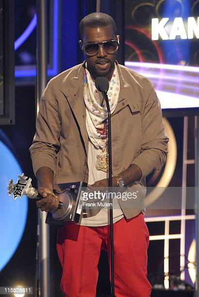 Rapper Kanye West accepts the Move the Crowd Award during the BET Hip Hop Awards 2007 at the Atlanta Civic Center on October 13 2007 in Atlanta GA