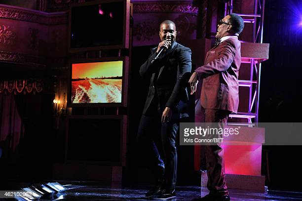 Rapper Kanye West and singer Charlie Wilson perform onstage during 'The BET Honors' 2015 at Warner Theatre on January 24 2015 in Washington DC