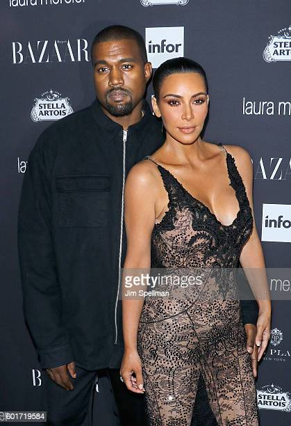 Rapper Kanye West and TV personality Kim Kardashian attend the Harper's BAZAAR celebrates 'ICONS By Carine Roitfeld' at The Plaza Hotel on September...
