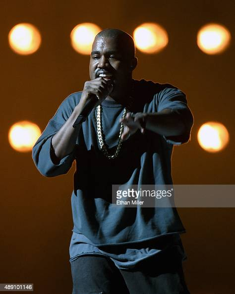 Rapper Kanye West performs at the 2015 iHeartRadio Music Festival at MGM Grand Garden Arena on September 18 2015 in Las Vegas Nevada