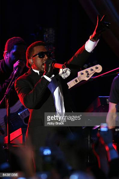 Rapper Kanye West performs during MTV ServiceNation Live From The Youth Inaugural Ball at the Hilton Washington on January 20 2009 in Washington DC...