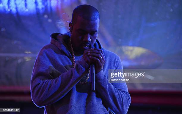 Rapper Kanye West performs on World AIDS Day at 'A Thank You' presented by RED on December 1 2014 in New York City Photo by Slaven Vlasic/Getty...