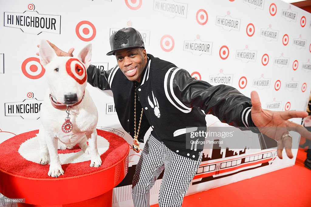 Rapper <a gi-track='captionPersonalityLinkClicked' href=/galleries/search?phrase=Kardinal+Offishall&family=editorial&specificpeople=709311 ng-click='$event.stopPropagation()'>Kardinal Offishall</a> attends the opening of Target At Shoppers World Danforth on March 27, 2013 in Toronto, Canada.