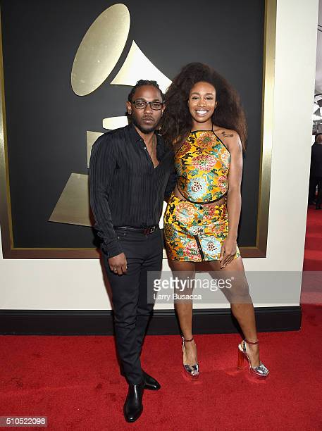 Rapper Kendrick Lamar and SZA attend The 58th GRAMMY Awards at Staples Center on February 15 2016 in Los Angeles California