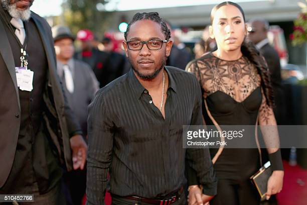 Rapper Kendrick Lamar and Whitney Alford attend The 58th GRAMMY Awards at Staples Center on February 15 2016 in Los Angeles California
