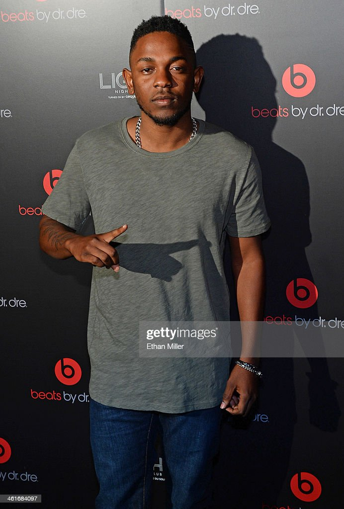 Rapper <a gi-track='captionPersonalityLinkClicked' href=/galleries/search?phrase=Kendrick+Lamar&family=editorial&specificpeople=8012417 ng-click='$event.stopPropagation()'>Kendrick Lamar</a> arrives at a Beats by Dr. Dre CES after party at the Light Nightclub at the Mandalay Bay Resort and Casino on January 9, 2014 in Las Vegas, Nevada.