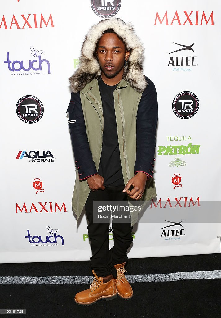 Rapper <a gi-track='captionPersonalityLinkClicked' href=/galleries/search?phrase=Kendrick+Lamar&family=editorial&specificpeople=8012417 ng-click='$event.stopPropagation()'>Kendrick Lamar</a> attends Talent Resources Sports presents MAXIM 'BIG GAME WEEKEND' sponsored by AQUAhydrat, Heavenly Resorts, Wonderful Pistachios, Touch by Alyssa Milano, and Philippe Chow on February 1, 2014 in New York City.